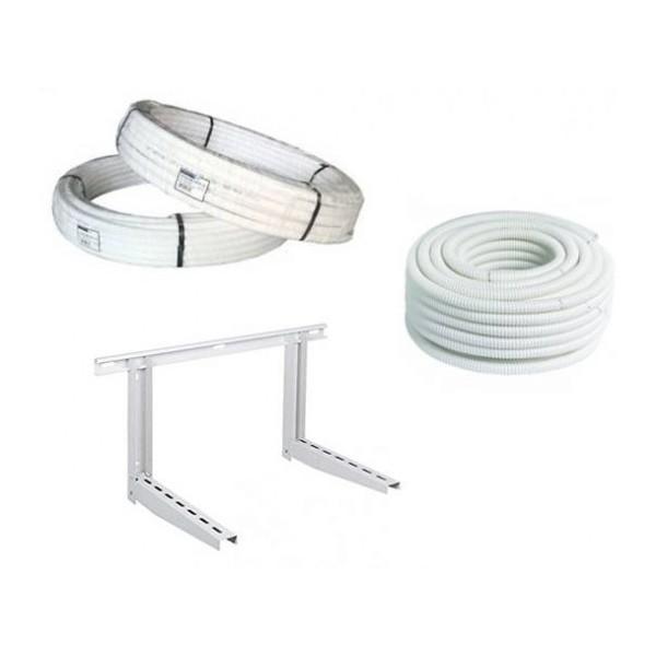 KIT INSTALLAZIONE CONDIZIONATORE : 3 Metri tubo rame da 1/4, da 3/8, guaina e staffa